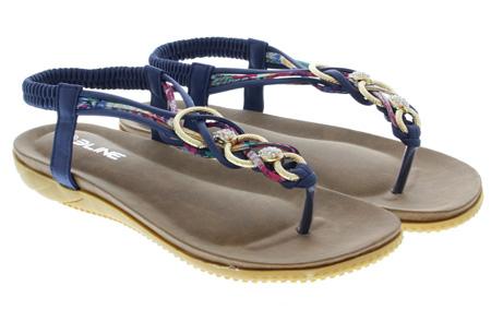 Evi slippers | Voor de ultieme Ibiza look, met lekker zacht voetbed! Donkerblauw
