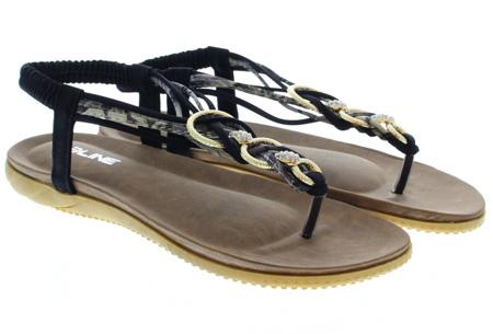 Evi slippers | Voor de ultieme Ibiza look, met lekker zacht voetbed! Zwart