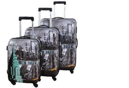 3-delige hardcase kofferset nu voor slechts €129,95 | In 13 leuke, herkenbare prints #1 New York city