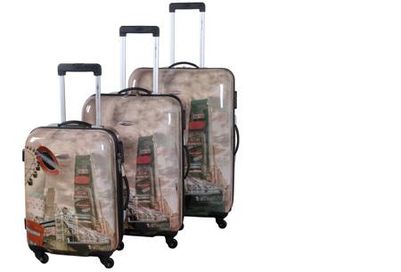 3-delige hardcase kofferset nu voor slechts €129,95 | In 13 leuke, herkenbare prints #2 London city