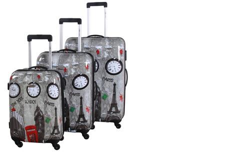 3-delige hardcase kofferset nu voor slechts €129,95 | In 13 leuke, herkenbare prints #3 London Big Ben