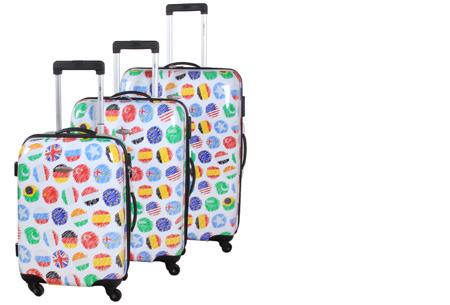 3-delige hardcase kofferset nu voor slechts €129,95 | In 13 leuke, herkenbare prints #4 Vlaggen