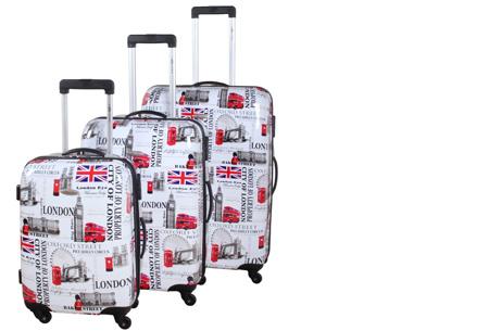 3-delige hardcase kofferset nu voor slechts €129,95 | In 13 leuke, herkenbare prints #5 Oxford Street