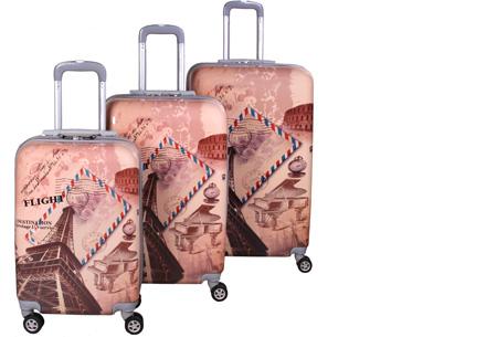 3-delige hardcase kofferset nu voor slechts €129,95 | In 13 leuke, herkenbare prints #8 Eiffel Tower