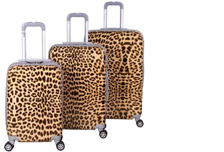 3-delige hardcase kofferset nu voor slechts €129,95 | In 13 leuke, herkenbare prints #9 Luipaard print