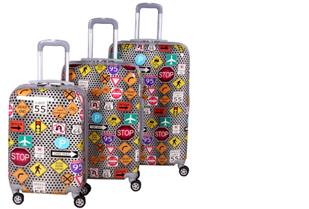 3-delige hardcase kofferset nu voor slechts €129,95 | In 13 leuke, herkenbare prints #10 verkeerssignalen