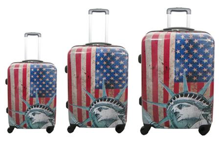 3-delige hardcase kofferset nu voor slechts €129,95 | In 13 leuke, herkenbare prints #12 US Flag