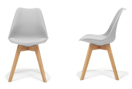 Moderne Marieke design stoelen 2 stuks | Met eikenhout kruisonderstel Grijs