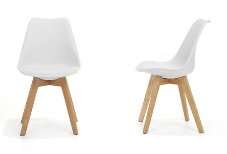 Moderne Marieke design stoelen 2 stuks | Met eikenhout kruisonderstel Wit