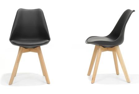 Moderne Marieke design stoelen 2 stuks | Met eikenhout kruisonderstel Zwart