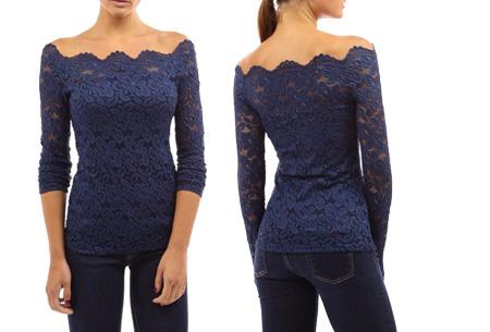 Kanten off shoulder top nu slechts €11,95 | Chique, sexy en op en top vrouwelijk Donkerblauw