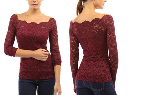 Kanten off shoulder top nu slechts €11,95 | Chique, sexy en op en top vrouwelijk Rood