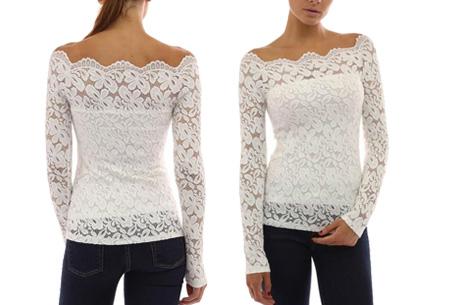 Kanten off shoulder top nu slechts €11,95 | Chique, sexy en op en top vrouwelijk Wit