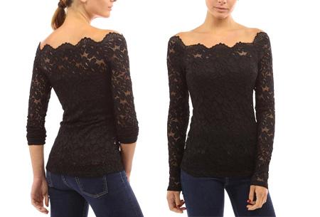 Kanten off shoulder top nu slechts €11,95 | Chique, sexy en op en top vrouwelijk Zwart