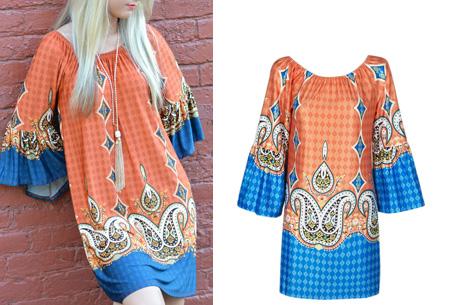 Bohemian off shoulder tuniek nu slechts €13,95 | Dé ultieme zomer musthave! #6 oranje/blauw