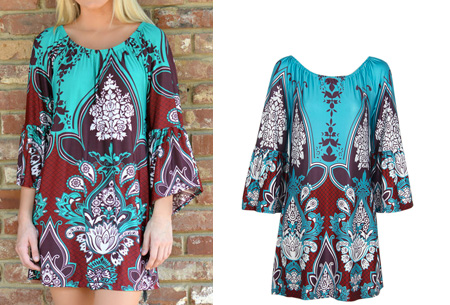 Bohemian off shoulder tuniek nu slechts €13,95 | Dé ultieme zomer musthave! #2 turquoise/bruin