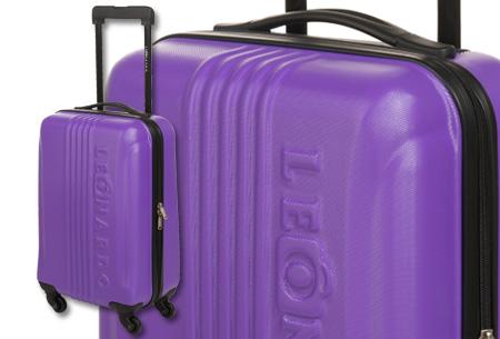 Handbagage koffer + voucher voor twee Europese retour vliegtickets | Ga voordelig op reis! Paars