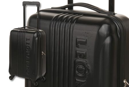 Handbagage koffer + voucher voor twee Europese retour vliegtickets | Ga voordelig op reis! Zwart