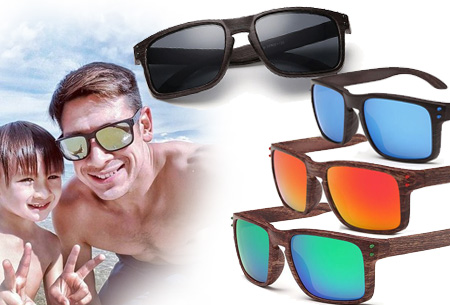 Wooden look zonnebrillen nu slechts €4,95