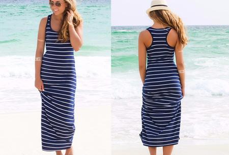 Stripe maxi jurk | Stijlvol, hip en heerlijk luchtig Donkerblauw