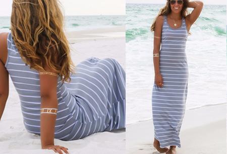 Stripe maxi jurk | Stijlvol, hip en heerlijk luchtig Grijs