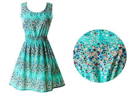 Jurkje met zomerse print | Verkrijgbaar in 21 gave dessins! #10 turquoise