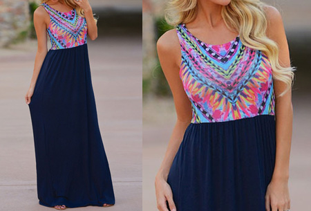 Bohemian maxi jurk nu slechts €14,95 | Zomers, hip en vrouwelijk! donkerblauw