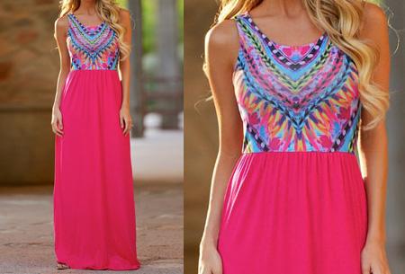 Bohemian maxi jurk nu slechts €14,95 | Zomers, hip en vrouwelijk! roze