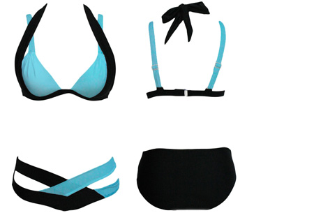 Luxury Chique bikini  | Stijlvol en chique het strand op!  Zwart-Blauw