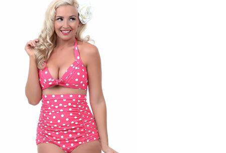 High Waist halter bikini nu slechts €14,95 | Voor de maten XS t/m XL #4 Polkadot roze-wit