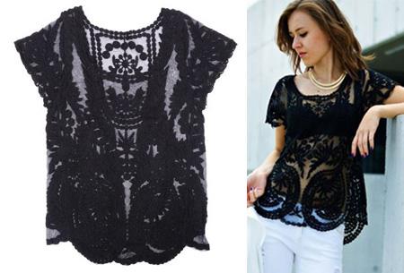 Kanten Bohemian shirt nu slechts €11,95 | Stijlvol, sexy & vrouwelijk! zwart