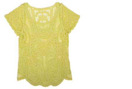Kanten Bohemian shirt nu slechts €11,95 | Stijlvol, sexy & vrouwelijk! geel
