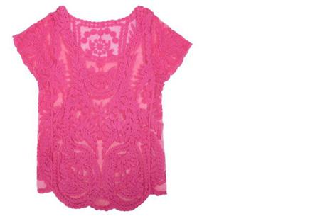 Kanten Bohemian shirt nu slechts €11,95 | Stijlvol, sexy & vrouwelijk! roze