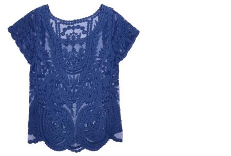 Kanten Bohemian shirt nu slechts €11,95 | Stijlvol, sexy & vrouwelijk! blauw