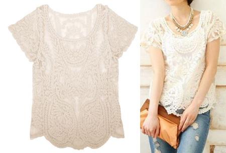 Kanten Bohemian shirt nu slechts €11,95 | Stijlvol, sexy & vrouwelijk! creme