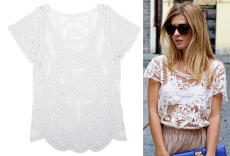 Kanten Bohemian shirt nu slechts €11,95 | Stijlvol, sexy & vrouwelijk! wit
