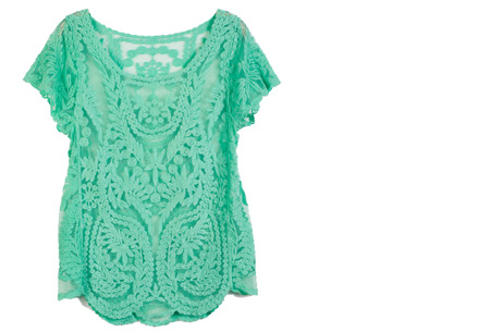 Kanten Bohemian shirt nu slechts €11,95 | Stijlvol, sexy & vrouwelijk! mint