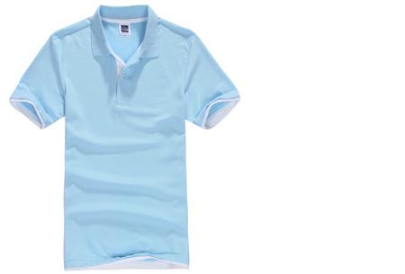 Duocolor heren polo nu slechts €12,95 | Voor de maten S t/m 3XL in 15 kleuren! #1 Lichblauw - Wit