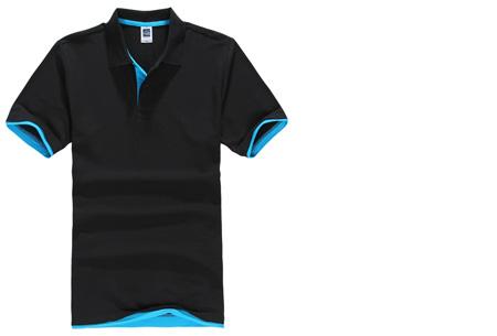 Duocolor heren polo nu slechts €12,95 | Voor de maten S t/m 3XL in 15 kleuren! #2 Zwart - Blauw