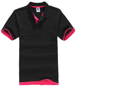 Duocolor heren polo nu slechts €12,95 | Voor de maten S t/m 3XL in 15 kleuren! #3 Zwart - Roze