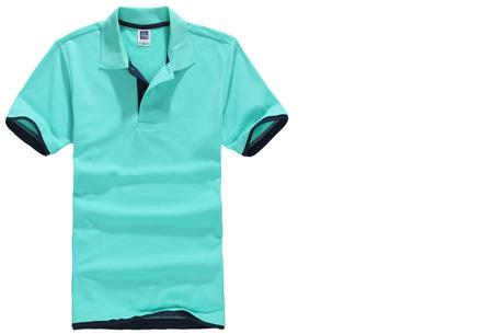 Duocolor heren polo nu slechts €12,95 | Voor de maten S t/m 3XL in 15 kleuren! #4 Turquoise - Donkerblauw