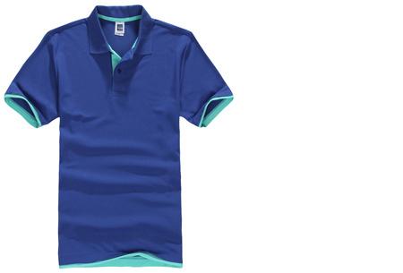 Duocolor heren polo nu slechts €12,95 | Voor de maten S t/m 3XL in 15 kleuren! #5 Donkerblauw - Turquoise