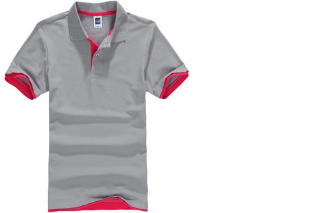 Duocolor heren polo nu slechts €12,95 | Voor de maten S t/m 3XL in 15 kleuren! #8 Grijs - Roze