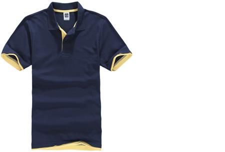 Duocolor heren polo nu slechts €12,95 | Voor de maten S t/m 3XL in 15 kleuren! #10 Navy - Geel