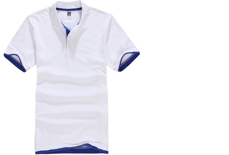 Duocolor heren polo nu slechts €12,95 | Voor de maten S t/m 3XL in 15 kleuren! #11 Wit - Donkerblauw