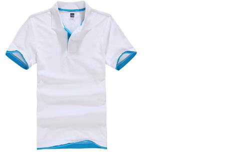 Duocolor heren polo nu slechts €12,95 | Voor de maten S t/m 3XL in 15 kleuren! #12 Wit - Lichtblauw