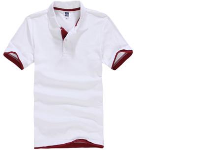 Duocolor heren polo nu slechts €12,95 | Voor de maten S t/m 3XL in 15 kleuren! #13 Wit - Rood
