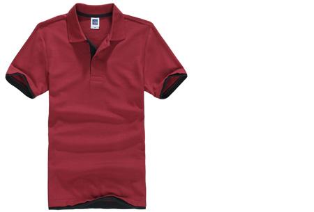 Duocolor heren polo nu slechts €12,95 | Voor de maten S t/m 3XL in 15 kleuren! #14 Wijnrood - Zwart