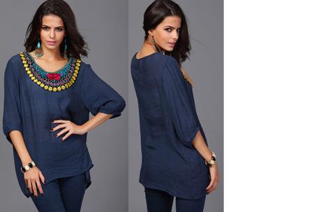 Ibiza tuniek nu slechts €12,95 | Keuze uit verschillende stijlen en kleuren! #F Donkerblauw