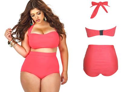 Plus Size high waist bikini nu slechts €19,95! Voor de maten 42/44 t/m 48/50 watermeloen